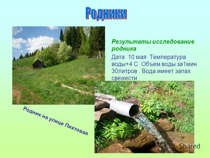 Результаты исследование родника Дата 10 мая Температура воды+4 С Объем воды за1мин 30литров. Вода имеет запах свежести Родник на улице Пихтовая