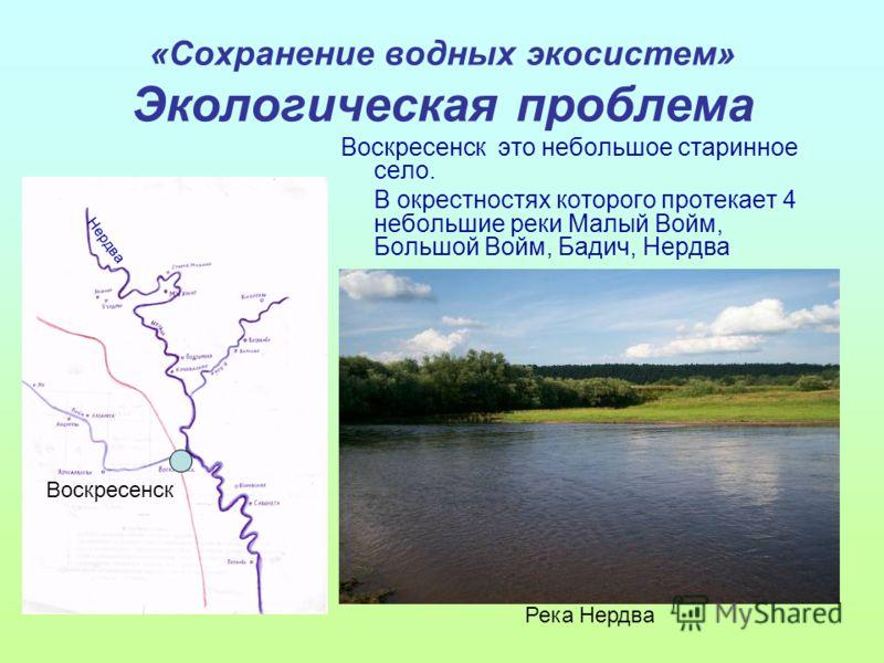 «Сохранение водных экосистем» Экологическая проблема Воскресенск это небольшое старинное село. В окрестностях которого протекает 4 небольшие реки Малый Войм, Большой Войм, Бадич, Нердва Река Нердва Воскресенск Нердва
