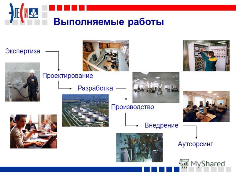 Выполняемые работы Экспертиза Внедрение Аутсорсинг Проектирование Производство Разработка