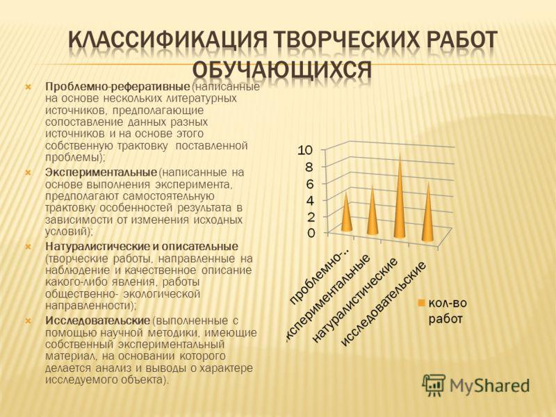 Проблемно-реферативные (написанные на основе нескольких литературных источников, предполагающие сопоставление данных разных источников и на основе этого собственную трактовку поставленной проблемы); Экспериментальные (написанные на основе выполнения