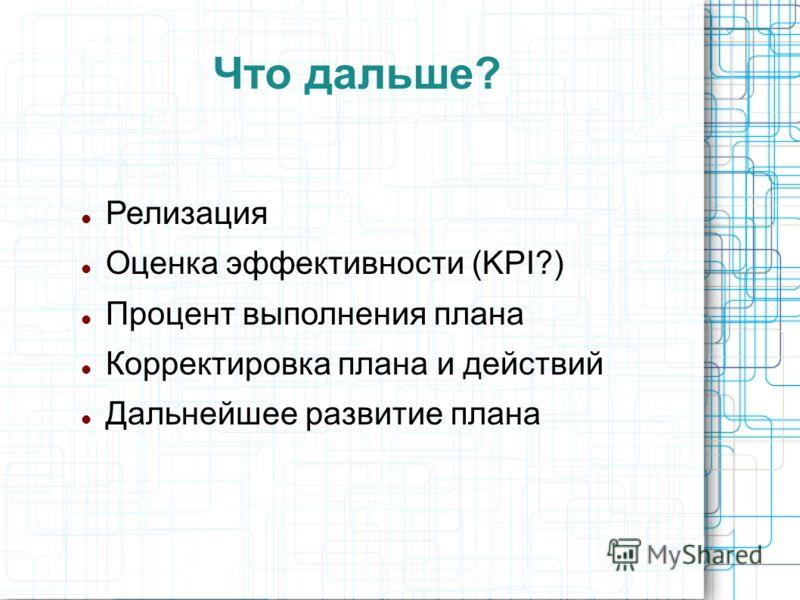 Что дальше? Релизация Оценка эффективности (KPI?) Процент выполнения плана Корректировка плана и действий Дальнейшее развитие плана