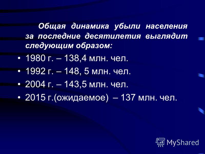 Общая динамика убыли населения за последние десятилетия выглядит следующим образом: 1980 г. – 138,4 млн. чел. 1992 г. – 148, 5 млн. чел. 2004 г. – 143,5 млн. чел. 2015 г.(ожидаемое) – 137 млн. чел.