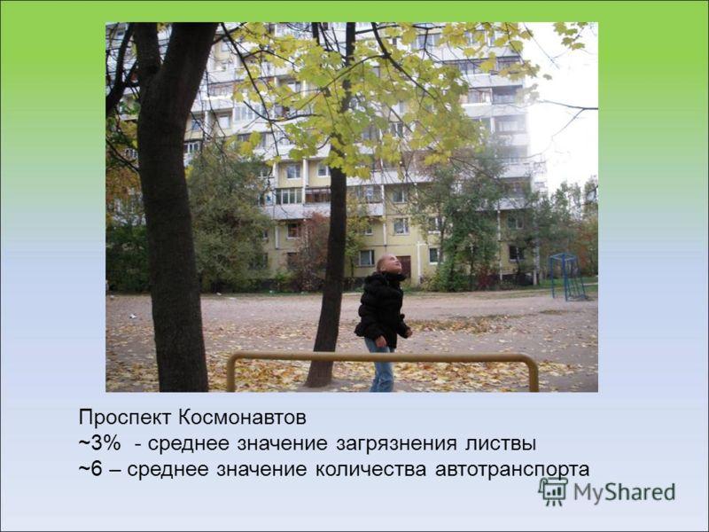 Проспект Космонавтов ~3% - среднее значение загрязнения листвы ~6 – среднее значение количества автотранспорта