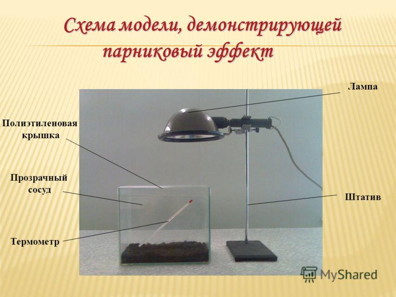 Схема модели, демонстрирующей парниковый эффект Схема модели, демонстрирующей парниковый эффект Лампа Штатив Полиэтиленовая крышка Прозрачный сосуд Термометр
