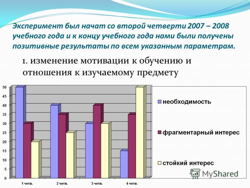 Эксперимент был начат со второй четверти 2007 – 2008 учебного года и к концу учебного года нами были получены позитивные результаты по всем указанным параметрам. 1. изменение мотивации к обучению и отношения к изучаемому предмету