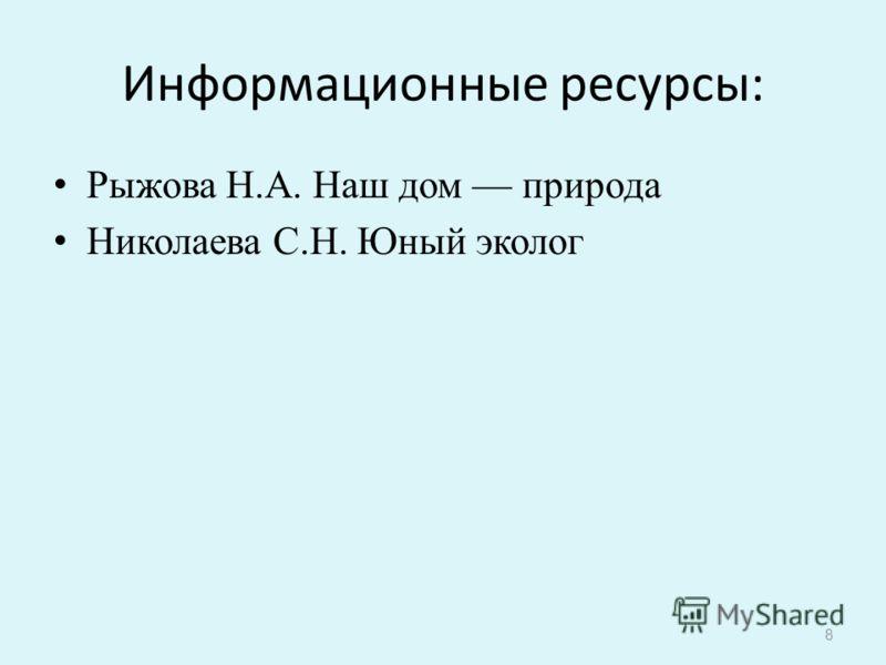Информационные ресурсы: Рыжова Н.А. Наш дом природа Николаева С.Н. Юный эколог 8