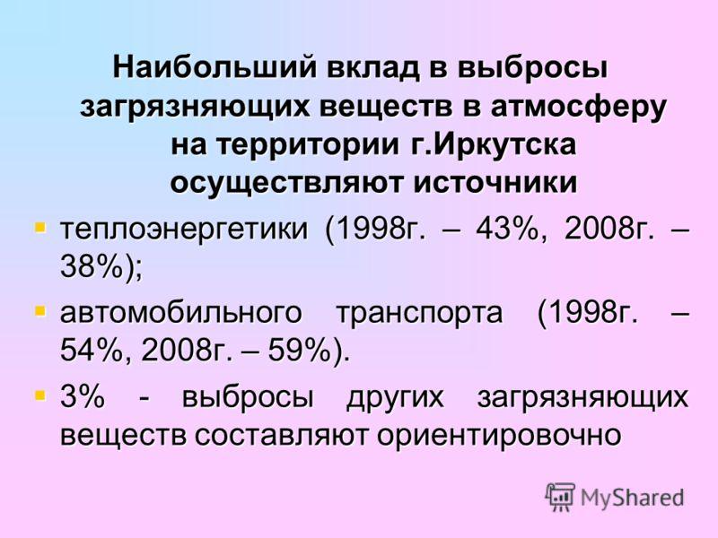 Наибольший вклад в выбросы загрязняющих веществ в атмосферу на территории г.Иркутска осуществляют источники теплоэнергетики (1998г. – 43%, 2008г. – 38%); теплоэнергетики (1998г. – 43%, 2008г. – 38%); автомобильного транспорта (1998г. – 54%, 2008г. –