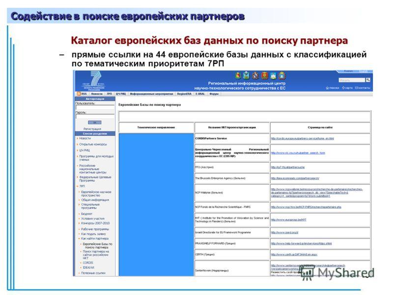 15 Каталог европейских баз данных по поиску партнера –прямые ссылки на 44 европейские базы данных с классификацией по тематическим приоритетам 7РП Содействие в поиске европейских партнеров