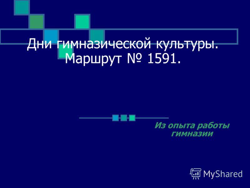 Дни гимназической культуры. Маршрут 1591. Из опыта работы гимназии