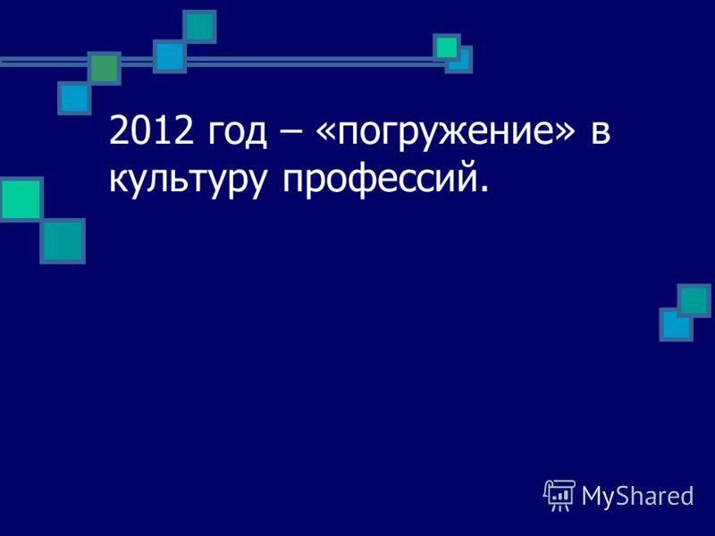 2012 год – «погружение» в культуру профессий.