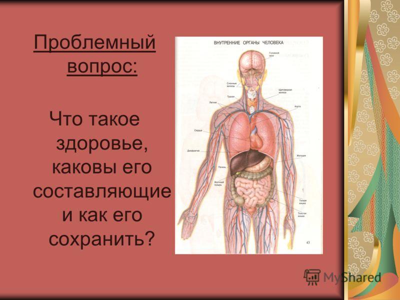 Проблемный вопрос: Что такое здоровье, каковы его составляющие и как его сохранить?