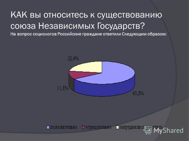 КАК вы относитесь к существованию союза Независимых Государств? На вопрос социологов Российские граждане ответили Следующим образом: