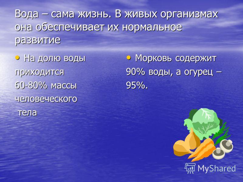 Вода – сама жизнь. В живых организмах она обеспечивает их нормальное развитие На долю воды На долю водыприходится 60-80% массы человеческого тела тела Морковь содержит Морковь содержит 90% воды, а огурец – 95%.