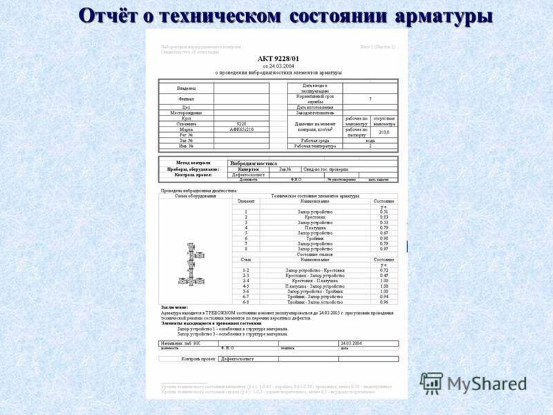 Отчёт о техническом состоянии арматуры