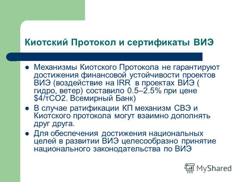Киотский Протокол и сертификаты ВИЭ Механизмы Киотского Протокола не гарантируют достижения финансовой устойчивости проектов ВИЭ (воздействие на IRR в проектах ВИЭ ( гидро, ветер) составило 0.5–2.5% при цене $4/тСО2. Всемирный Банк) В случае ратифика