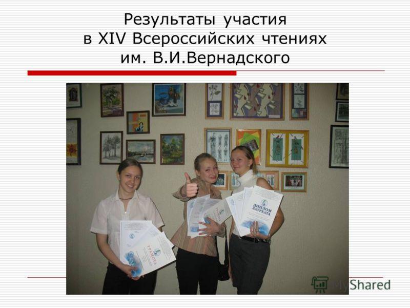 Результаты участия в XIV Всероссийских чтениях им. В.И.Вернадского