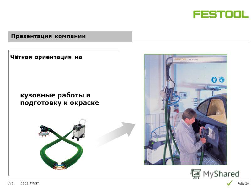 Folie 29 Презентация компании Чёткая ориентация на кузовные работы и подготовку к окраске UVS____1202_FM/ST