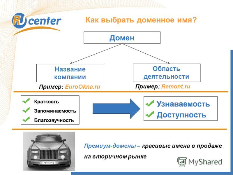 Как выбрать доменное имя? Домен Название компании Область деятельности Пример: EuroOkna.ru Пример: Remont.ru Премиум-домены – красивые имена в продаже на вторичном рынке