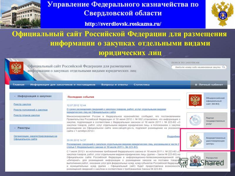 Официальный сайт Российской Федерации для размещения информации о закупках отдельными видами юридических лиц