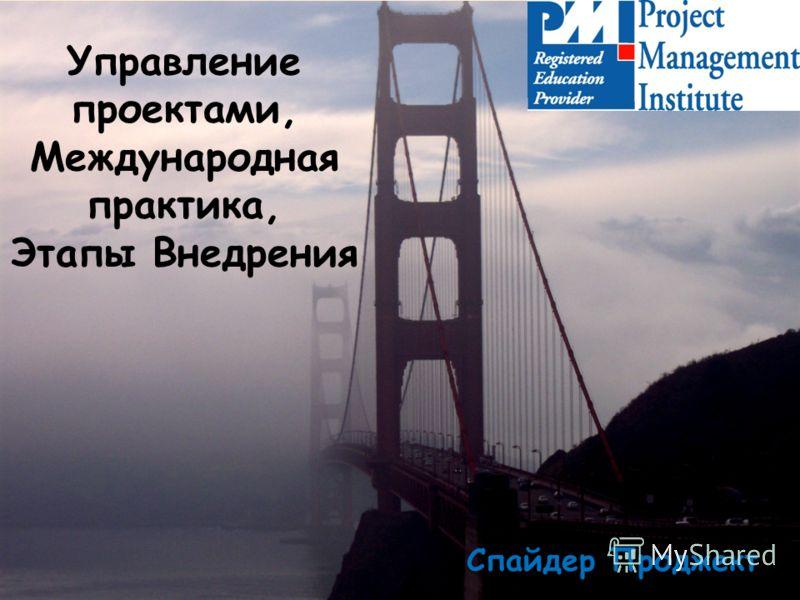 Управление проектами, Международная практика, Этапы Внедрения Спайдер Проджект