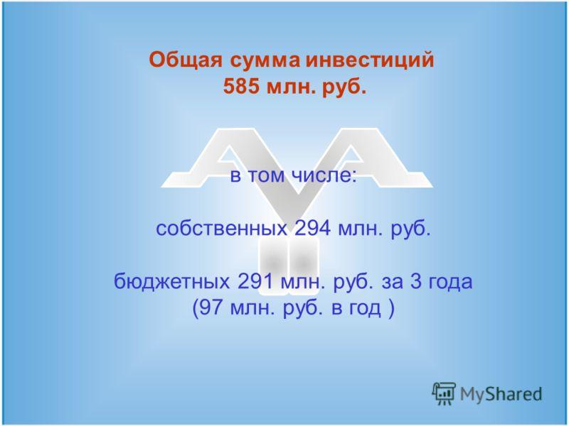 в том числе: собственных 294 млн. руб. бюджетных 291 млн. руб. за 3 года (97 млн. руб. в год ) Общая сумма инвестиций 585 млн. руб.