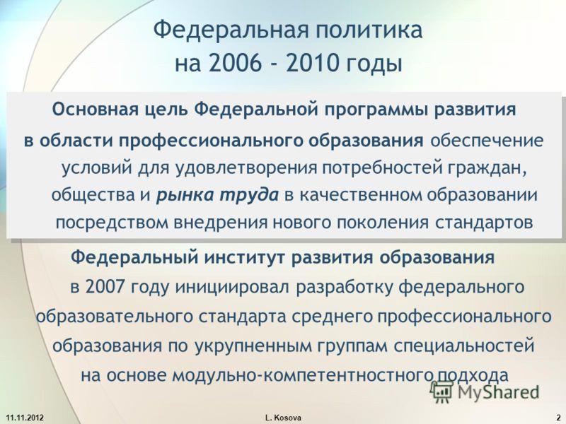 Федеральная политика на 2006 - 2010 годы Основная цель Федеральной программы развития в области профессионального образования обеспечение условий для удовлетворения потребностей граждан, общества и рынка труда в качественном образовании посредством в