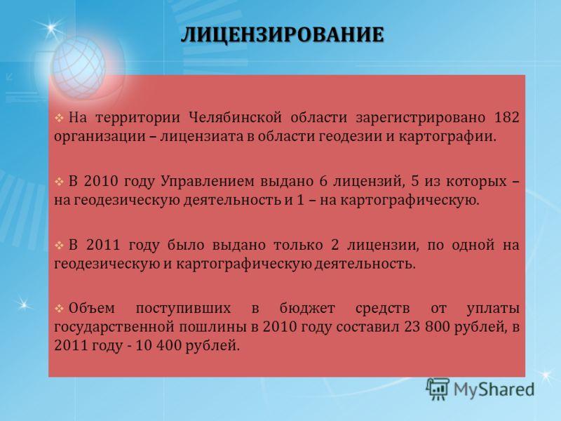 ЛИЦЕНЗИРОВАНИЕ На территории Челябинской области зарегистрировано 182 организации – лицензиата в области геодезии и картографии. В 2010 году Управлением выдано 6 лицензий, 5 из которых – на геодезическую деятельность и 1 – на картографическую. В 2011