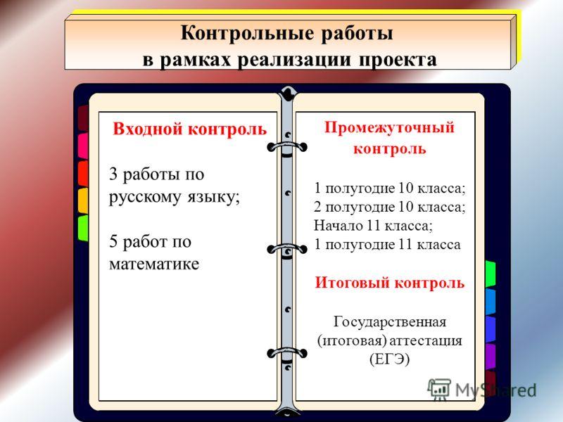 Входной контроль 3 работы по русскому языку; 5 работ по математике Промежуточный контроль 1 полугодие 10 класса; 2 полугодие 10 класса; Начало 11 класса; 1 полугодие 11 класса Итоговый контроль Государственная (итоговая) аттестация (ЕГЭ) Контрольные