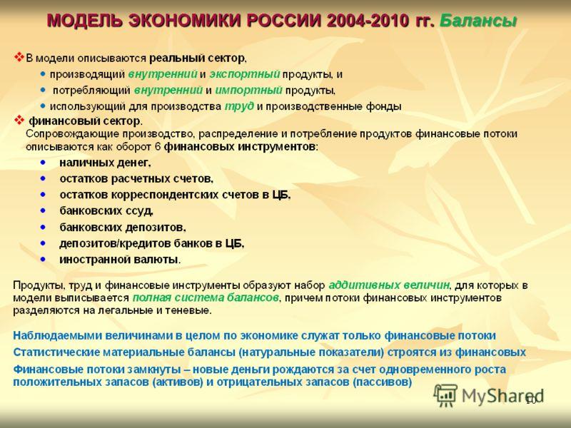 МОДЕЛЬ ЭКОНОМИКИ РОССИИ 2004-2010 гг. Балансы 10