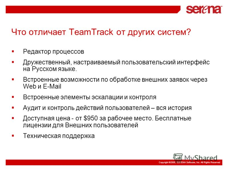 Copyright ©2005, SERENA Software, Inc. All Rights Reserved Что отличает TeamTrack от других систем? Редактор процессов Дружественный, настраиваемый пользовательский интерфейс на Русском языке. Встроенные возможности по обработке внешних заявок через