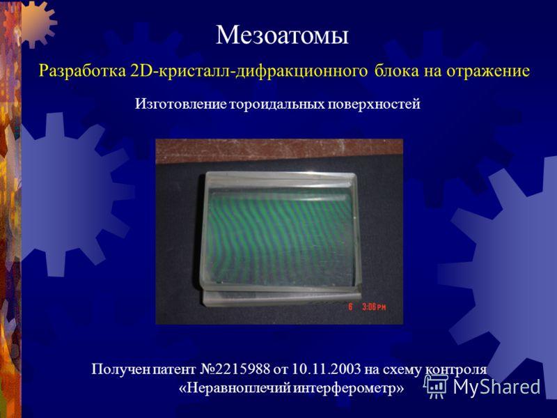 Мезоатомы Разработка 2D-кристалл-дифракционного блока на отражение Изготовление тороидальных поверхностей Получен патент 2215988 от 10.11.2003 на схему контроля «Неравноплечий интерферометр»
