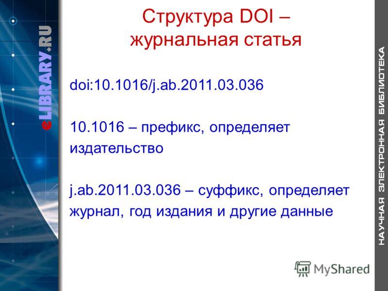 Структура DOI – журнальная статья doi:10.1016/j.ab.2011.03.036 10.1016 – префикс, определяет издательство j.ab.2011.03.036 – суффикс, определяет журнал, год издания и другие данные