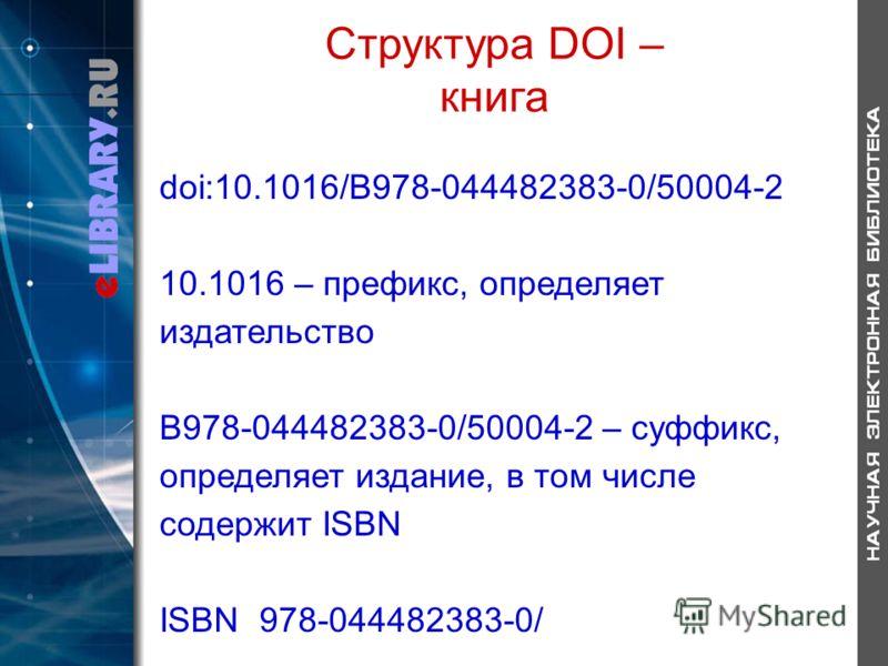 Структура DOI – книга doi:10.1016/B978-044482383-0/50004-2 10.1016 – префикс, определяет издательство B978-044482383-0/50004-2 – суффикс, определяет издание, в том числе содержит ISBN ISBN 978-044482383-0/
