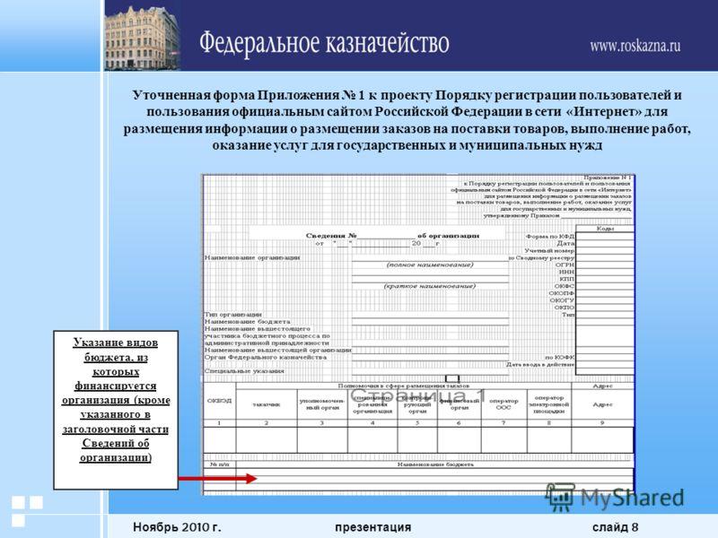Ноябрь 2010 г. презентация слайд 8 Уточненная форма Приложения 1 к проекту Порядку регистрации пользователей и пользования официальным сайтом Российской Федерации в сети «Интернет» для размещения информации о размещении заказов на поставки товаров, в