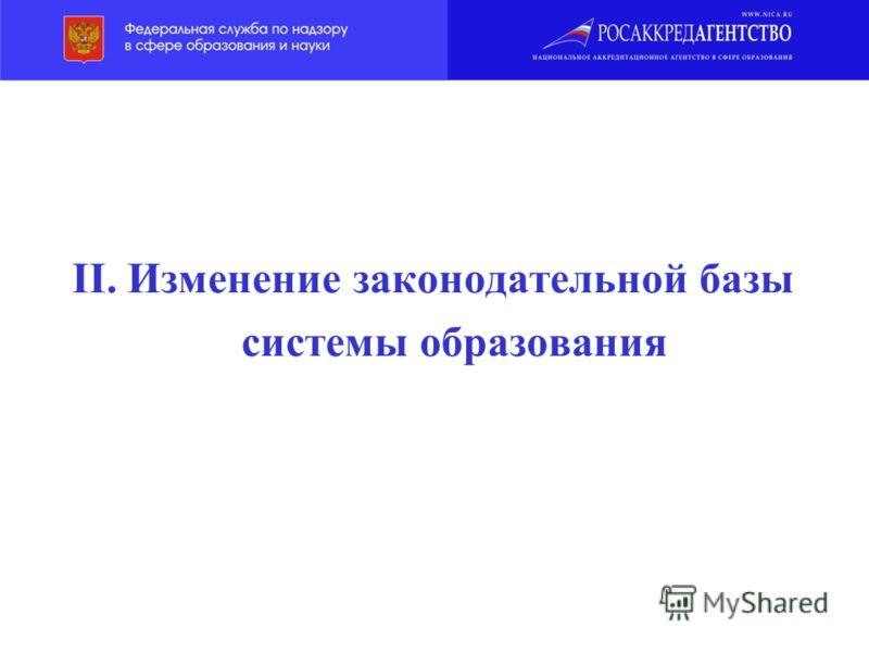 II. Изменение законодательной базы системы образования