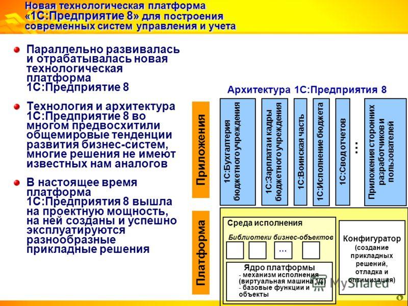 8 Новая технологическая платформа « 1С:Предприятие 8» для построения современных систем управления и учета Параллельно развивалась и отрабатывалась новая технологическая платформа 1С:Предприятие 8 Технология и архитектура 1С:Предприятие 8 во многом п