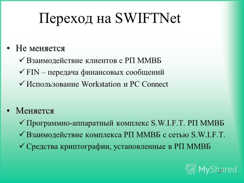 25 Переход на SWIFTNet Не меняетсяНе меняется Взаимодействие клиентов с РП ММВБ FIN – передача финансовых сообщений Использование Workstation и PC Connect МеняетсяМеняется Программно-аппаратный комплекс S.W.I.F.T. РП ММВБ Взаимодействие комплекса РП