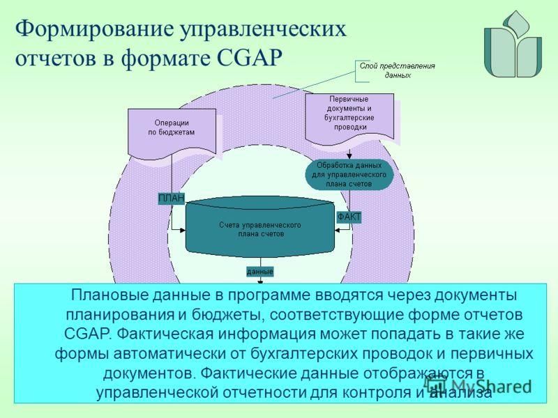 Формирование управленческих отчетов в формате CGAP Плановые данные в программе вводятся через документы планирования и бюджеты, соответствующие форме отчетов CGAP. Фактическая информация может попадать в такие же формы автоматически от бухгалтерских