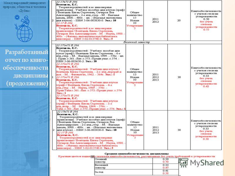 Международный университет природы, общества и человека «Дубна» Разработанный отчет по книго- обеспеченности дисциплины (продолжение)