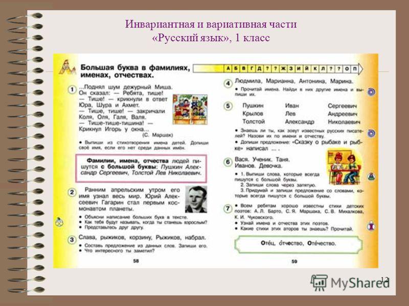 12 Инвариантная и вариативная части «Русский язык», 1 класс