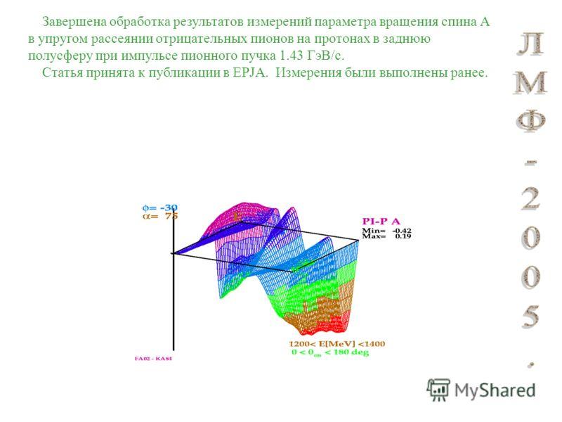 Завершена обработка результатов измерений параметра вращения спина А в упругом рассеянии отрицательных пионов на протонах в заднюю полусферу при импульсе пионного пучка 1.43 ГэВ/с. Статья принята к публикации в EPJA. Измерения были выполнены ранее.