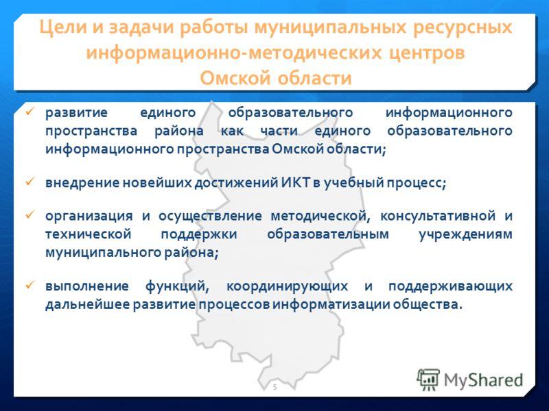 Цели и задачи работы муниципальных ресурсных информационно-методических центров Омской области развитие единого образовательного информационного пространства района как части единого образовательного информационного пространства Омской области; внедр