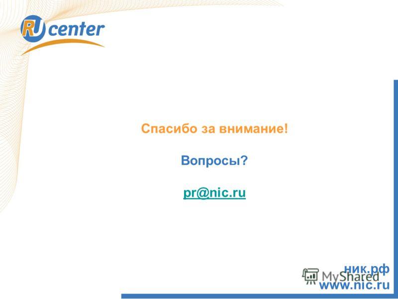 Спасибо за внимание! Вопросы? pr@nic.ru ник.рф www.nic.ru