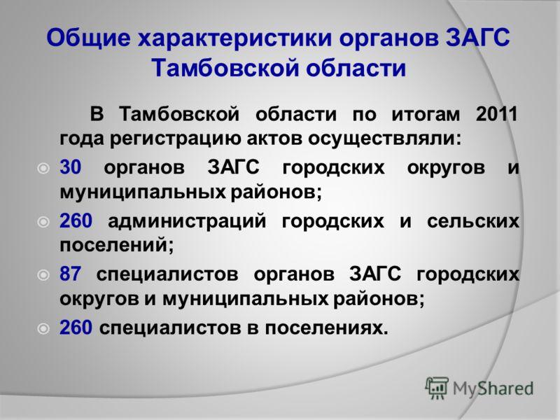 Общие характеристики органов ЗАГС Тамбовской области В Тамбовской области по итогам 2011 года регистрацию актов осуществляли: 30 органов ЗАГС городских округов и муниципальных районов; 260 администраций городских и сельских поселений; 87 специалистов