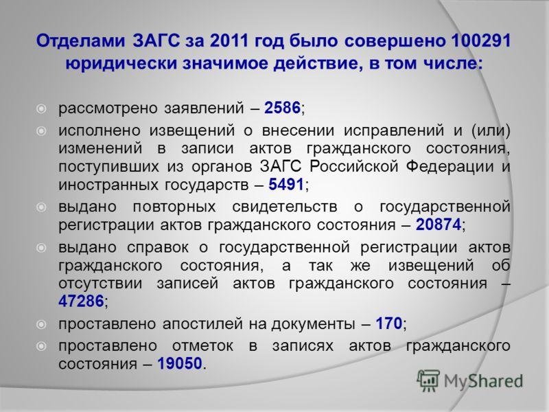 Отделами ЗАГС за 2011 год было совершено 100291 юридически значимое действие, в том числе: рассмотрено заявлений – 2586; исполнено извещений о внесении исправлений и (или) изменений в записи актов гражданского состояния, поступивших из органов ЗАГС Р