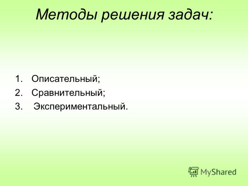 Методы решения задач: 1.Описательный; 2.Сравнительный; 3. Экспериментальный.