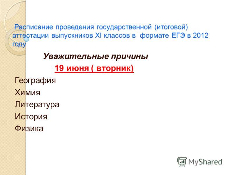 Расписание проведения государственной (итоговой) аттестации выпускников XI классов в формате ЕГЭ в 2012 году Расписание проведения государственной (итоговой) аттестации выпускников XI классов в формате ЕГЭ в 2012 году Уважительные причины 19 июня ( в