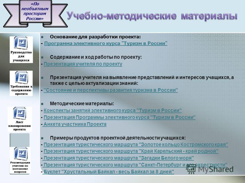 Основание для разработки проекта: - Программа элективного курса