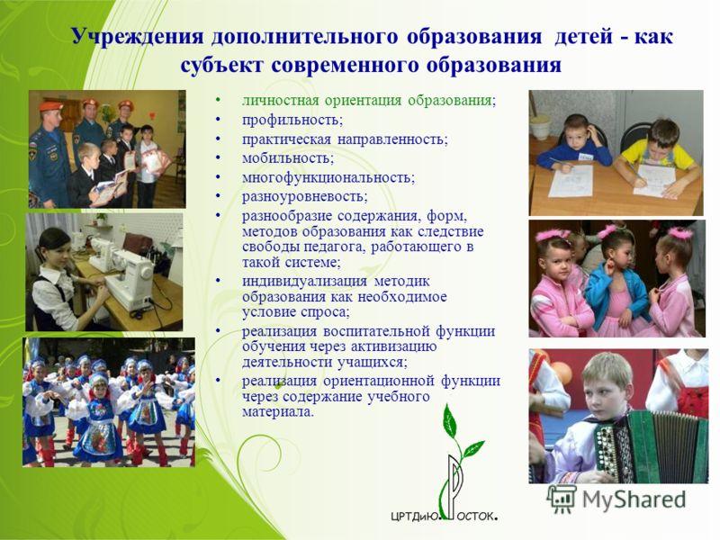 Учреждения дополнительного образования детей - как субъект современного образования личностная ориентация образования; профильность; практическая направленность; мобильность; многофункциональность; разноуровневость; разнообразие содержания, форм, мет