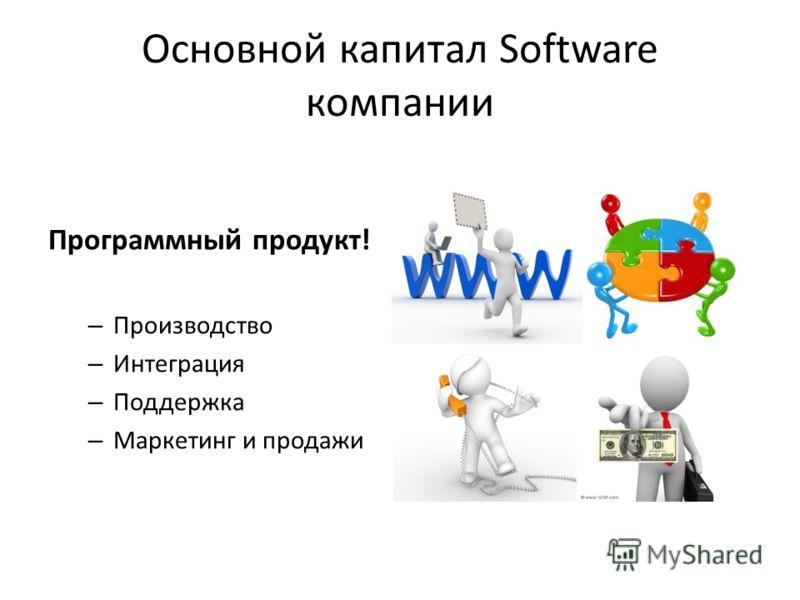 Основной капитал Software компании Программный продукт! –П–Производство –И–Интеграция –П–Поддержка –М–Маркетинг и продажи